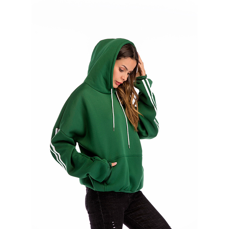 Hot sale soild color hooded pocket with velvet thick sweater women comfortable sweatshirt hoodies