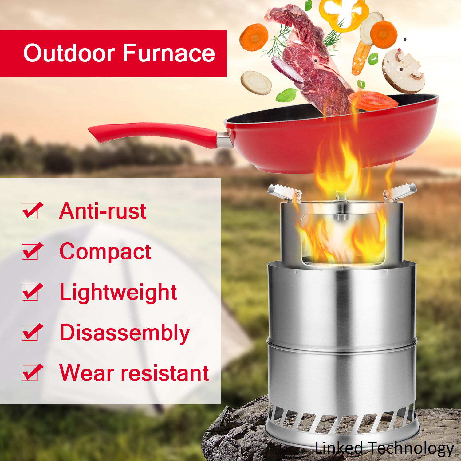 S Size Wholesale portable Outdoor Alcohol Stove Stainless Steel Wood Burning Stove Camping Wood Stove