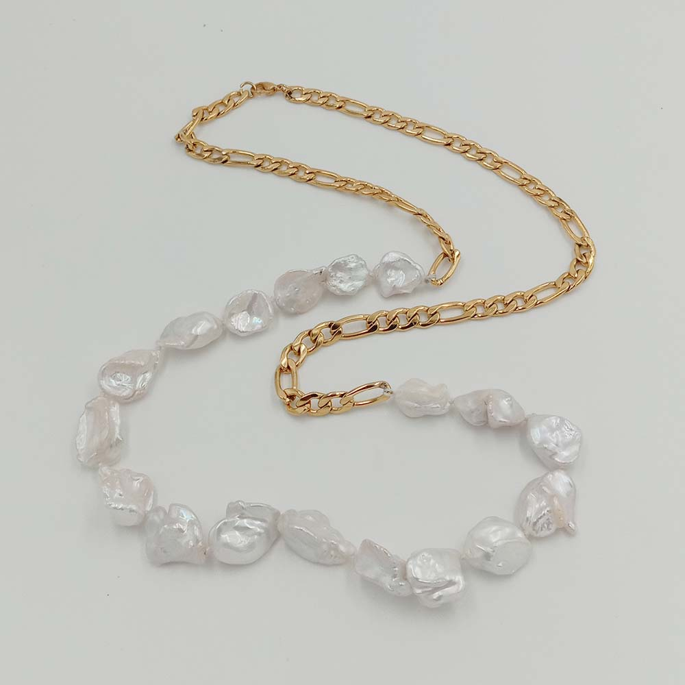 70~100 CM LONG PEARL NECKLACE 100% NATURAL FRESHWATER PEARL baroque shape,stainless steel chain