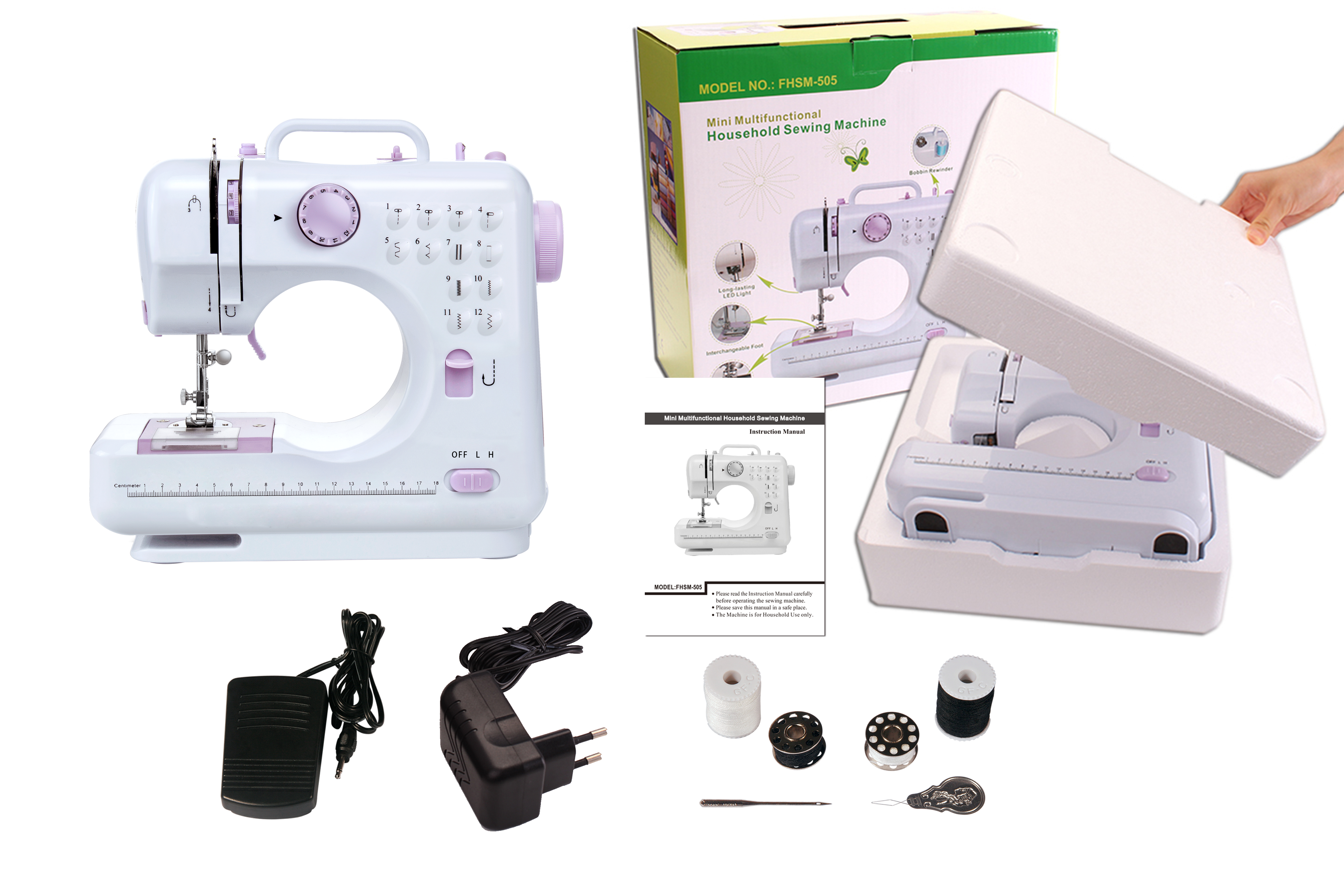 VOF FHSM-505 adjustable domestic multi-functional Overlock mini easy stitch sewing machine for home use