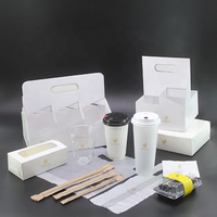 Takeout packing set with paper cup & lid sushi box cup holder independent packing straw milk tea bags