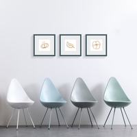 BAZHOU Furniture New Design Water Drop Shape Plastic Dining Chair With Metal legs