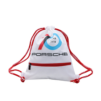 Free sample recycled white polyester drawstring bag zipper
