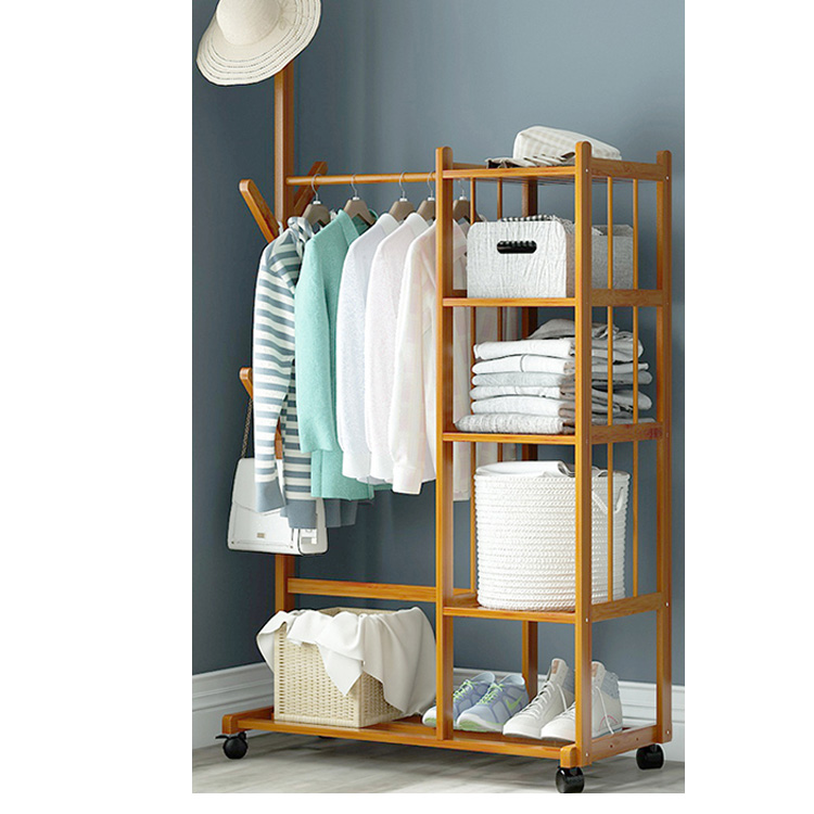 <strong>3</strong> Storage And Shoes Shelves Bedroom Use Floor Standing Garment Clothes Rack and Stand Bamboo