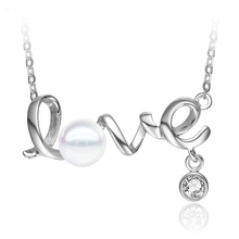 PF0160CP Fine Jewelry Necklace 925 Sterling Silver Love Locket Styles Inlaid Natural Pearl <strong>Pendant</strong> For Party