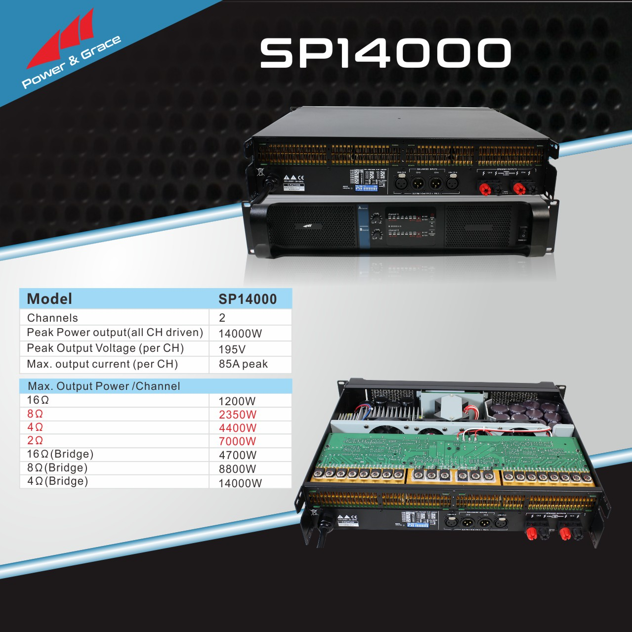 High quality class td pro audio 14000 watts 2 ch Fp amplifiers