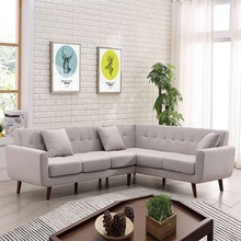 Hot sell luxury living room bedroom <strong>furniture</strong> light gray corner sofa