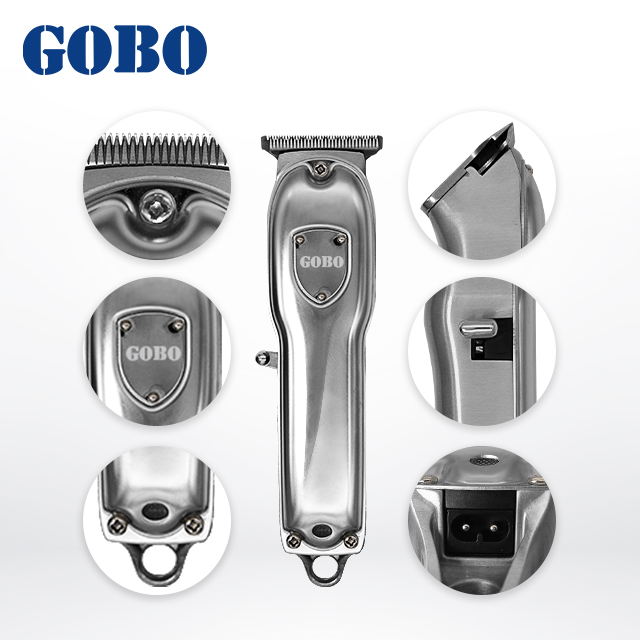 professional rechargeable hair cutter silver all metal hair trimmer cordless stainless steel hair clipper