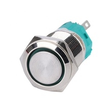 Brass Nickeled 1NO1NC Ring Illuminated 16mm Flat Round Head Self-locking Metal IP65 Waterproof Push Button <strong>Switch</strong>