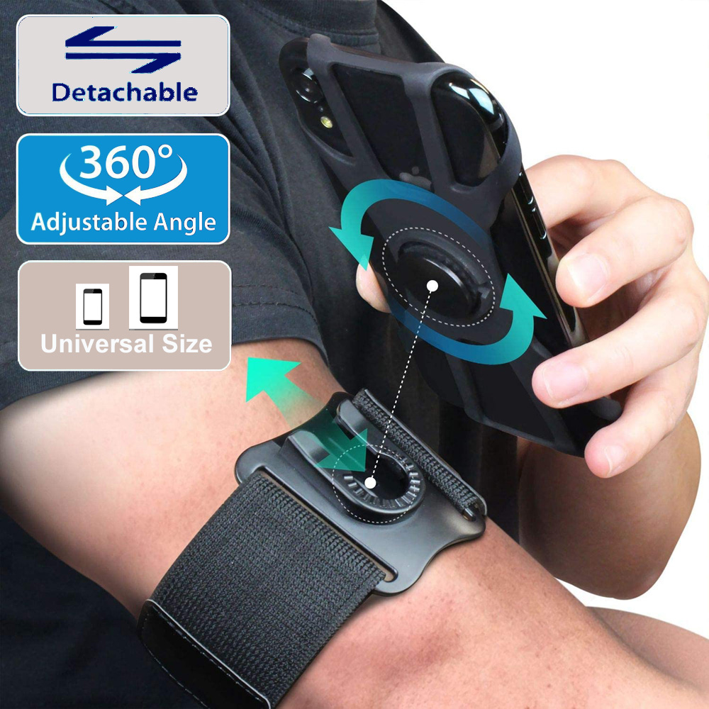 Custom Logo Printed Detachable Rotate Mobile <strong>Phone</strong> Armband Gym Sports Running Arm Pouch <strong>Phone</strong> Holder Armband for iphone 11