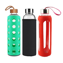 Wholesale BPA Free Crystal Borosilicate Glass Water Bottles, Leak Proof Reusable <strong>Sports</strong> Drinking Bottle With Logo 500ML 1000ML