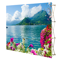 Portable fabric backdrop folding pop up display stand