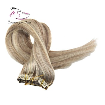 Balayage Ombre Remy Human Hair of Clip in Hair Extensions Color Golden Brown to Blonde #10 to #613 Silky Straight 120g