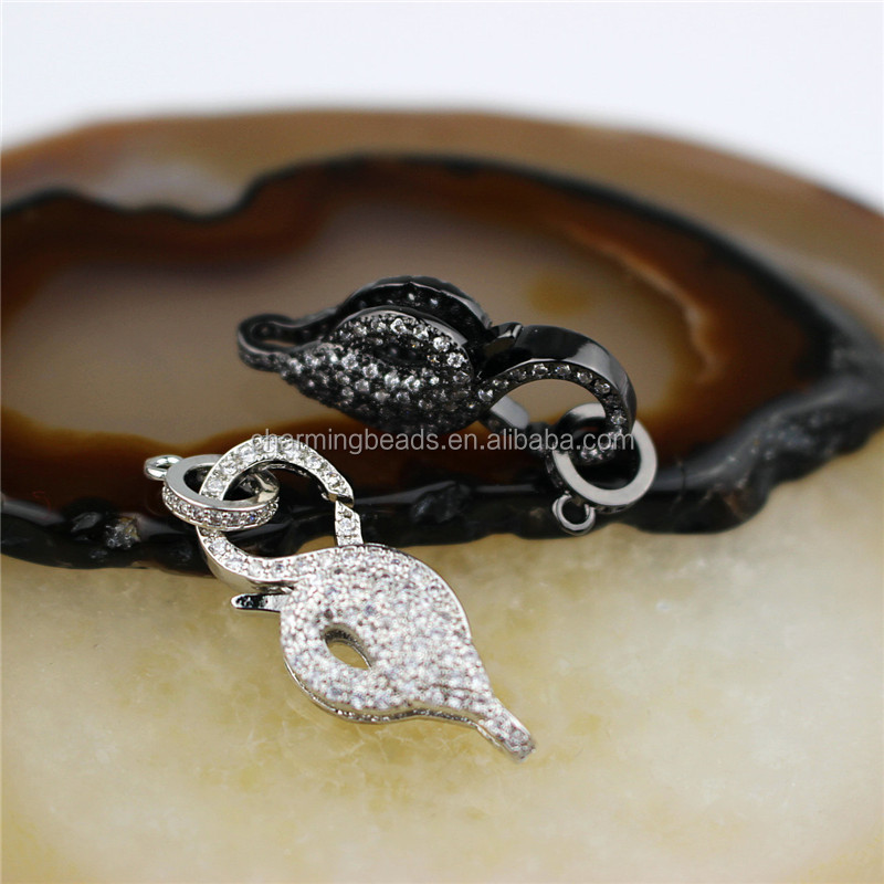 CH-HDP0236 Good quality irregular cz clasp,plated cz charm,closure bracelet/necklace component wholesale
