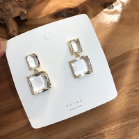 2020 Korean New Design Fashion Jewelry Double Square Earrings Luxury Transparent Glass Crystal Party Earrings for women gift