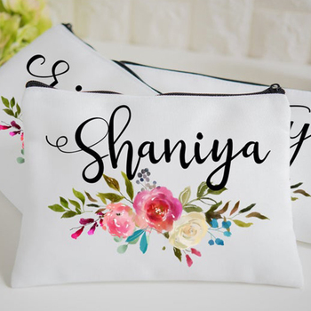 Handmade wholesale canvas makeup bag canvas zip pouch bridesmaid gift makeup bag with custom logo printing