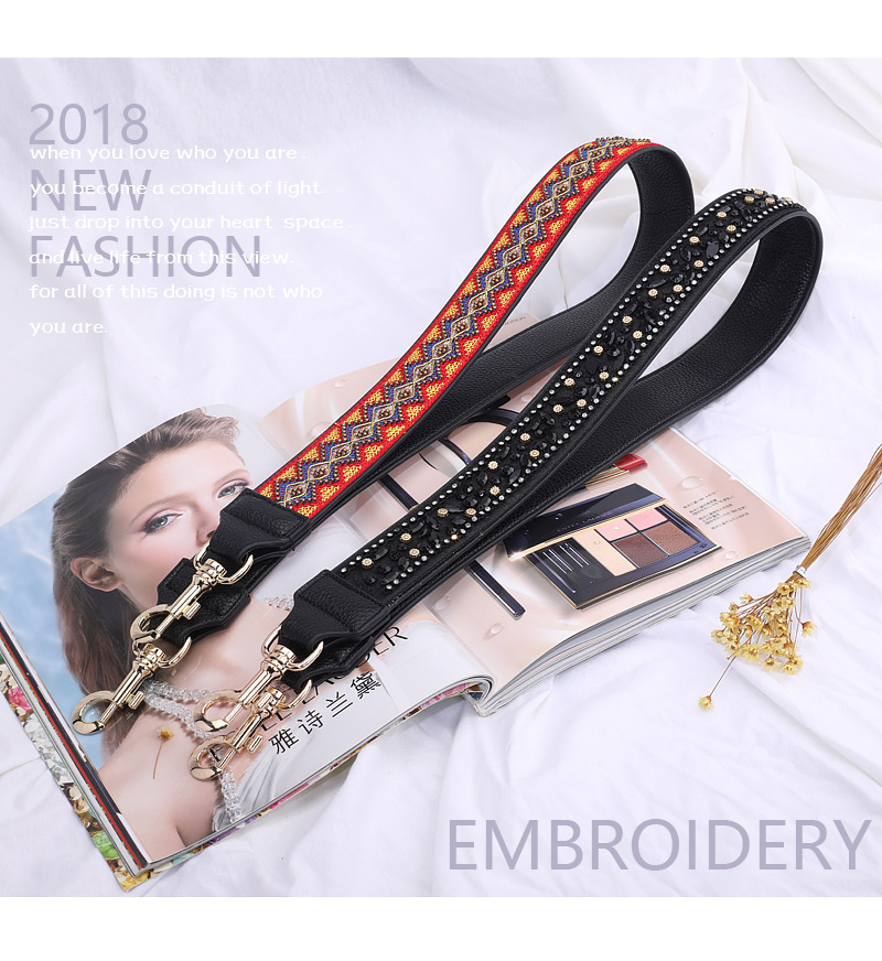 Factory hot selling fashion wide side women leather detachable shoulder strap
