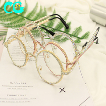Fashion Diamond Round <strong>Sunglasses</strong> Women 2019 Brand <strong>Plastic</strong> Oversized Vintage Shades Ladies Oculos Top Luxury Crystal Sun glasses