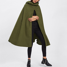 Army Green  Hooded  Cloak Fall  Cape Cotton  Split Front Cloak Poncho Cardigan