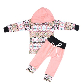 2019Bulk long sleeve pink children clothing baby clothes baby girl set