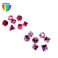 rock polyhedral rainbow metal pearl red yellow and blue dice set