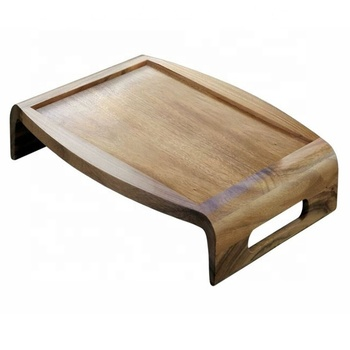 Modern Acacia Wooden Bed Rolling Tray With Cutout Handles