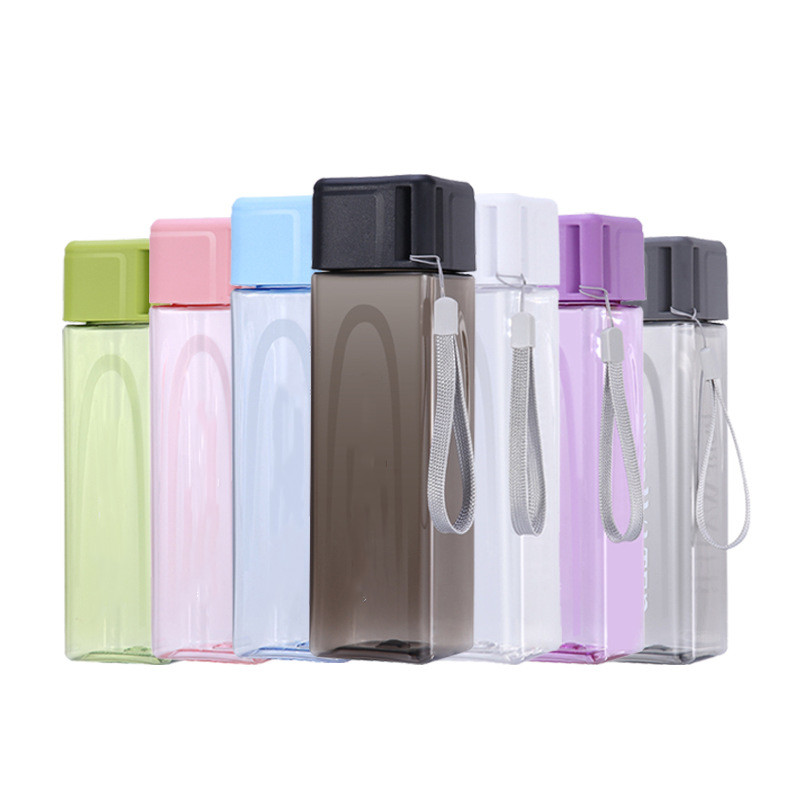 500ml Portable Lanyard Drinking Cup Fashion Square Leak-proof Gift Outdoor <strong>Sports</strong> Clear Plastic Water Bottle