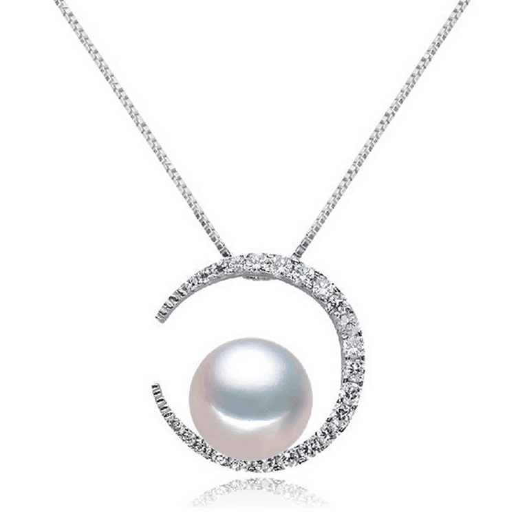 2019 new design 925 sterling silver with cz crescent pearl pendant necklace