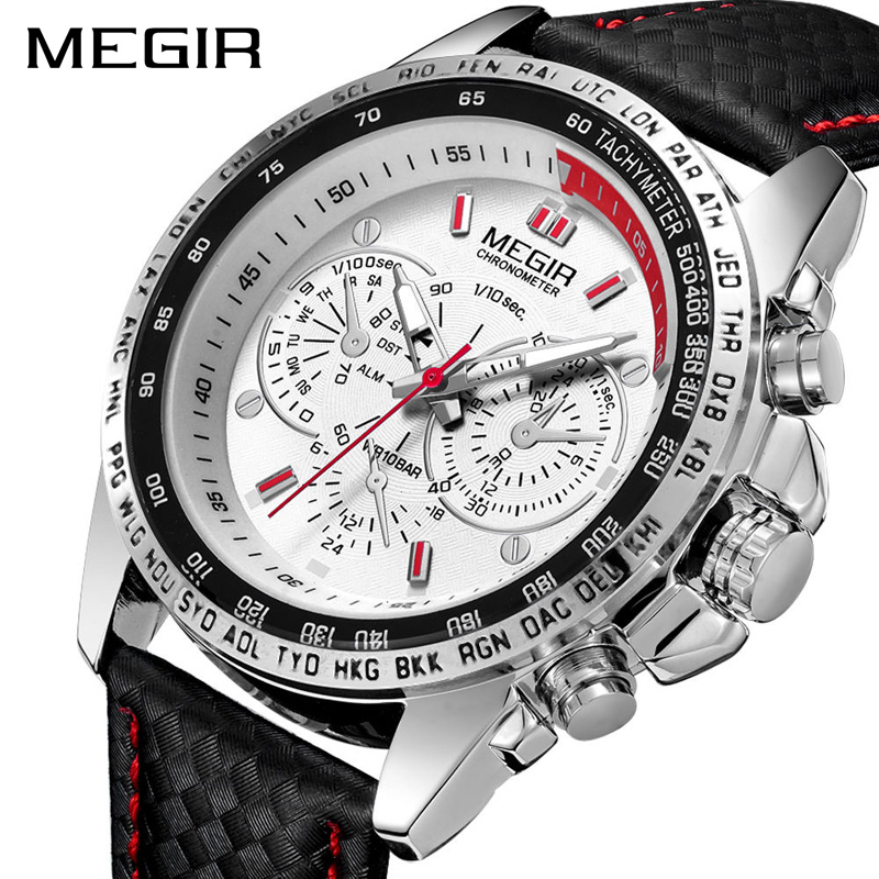 MEGIR <strong>1010</strong> new style black boys quartz watch original PU leather strap world time dials decoration Simple business hand watch