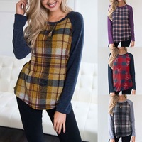 J11 Fashion Blouse Women Casual Plaid Print Shirt Long Sleeve O Neck Blouse Loose Womens Tops and Blouses