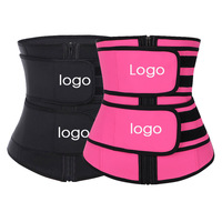 Lover Beauty Sexy Black Big Size Double Belt Latex Waist Shaper Slimming With Body Shaper Slim Waist