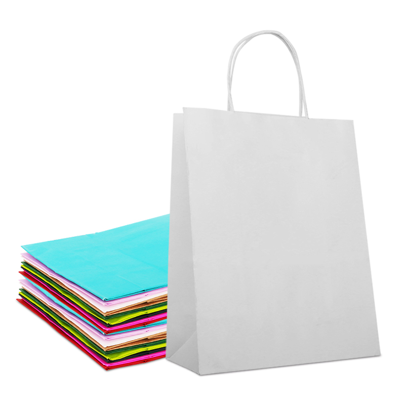 Manufacturer Cheap Customised White Craft Paper <strong>Bag</strong> With Your Own Logo