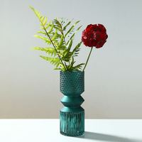 APHACATOP Creative Style Hydroponic Flower Arrangement Emboss Blue Home Decoration Glass Vase