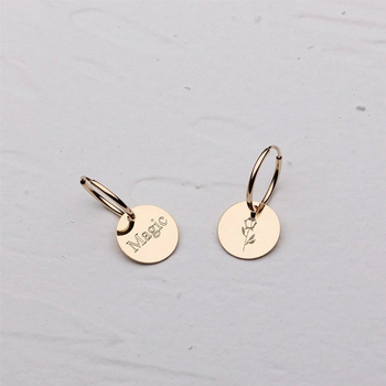 Simple 925 sterling silver 14k gold Dainty Circle Coin with Custom Initials earring for women