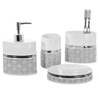 Cheap new design style 4pcs bathroom accessory sets ceramic