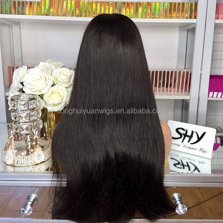 Salon Shop Wholesale inexpensive american high quality human hair full lace wigs Silky Straight For Black Women