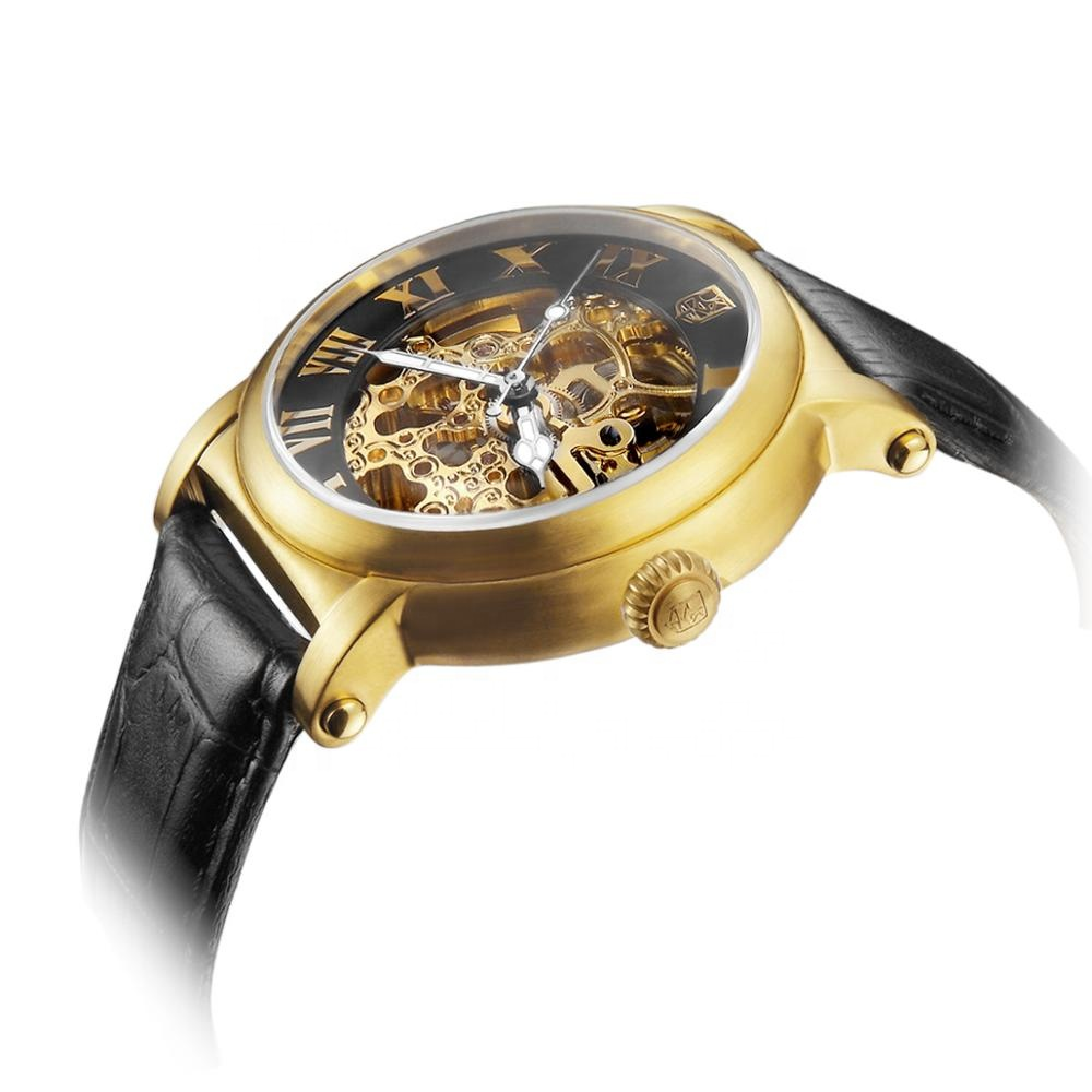 TOP Custom Logo Transparent Automatic Leather Golden Watch 10ATM Mechanical Hollow Dial <strong>Men</strong> Business Watch