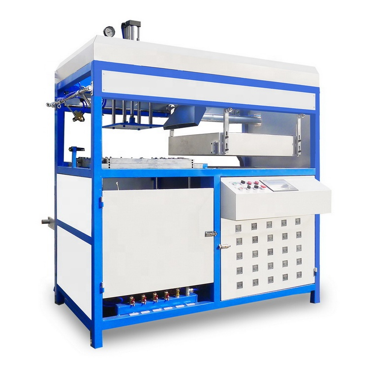 Semi-automatic thermoforming machine for making lunch box and egg tray