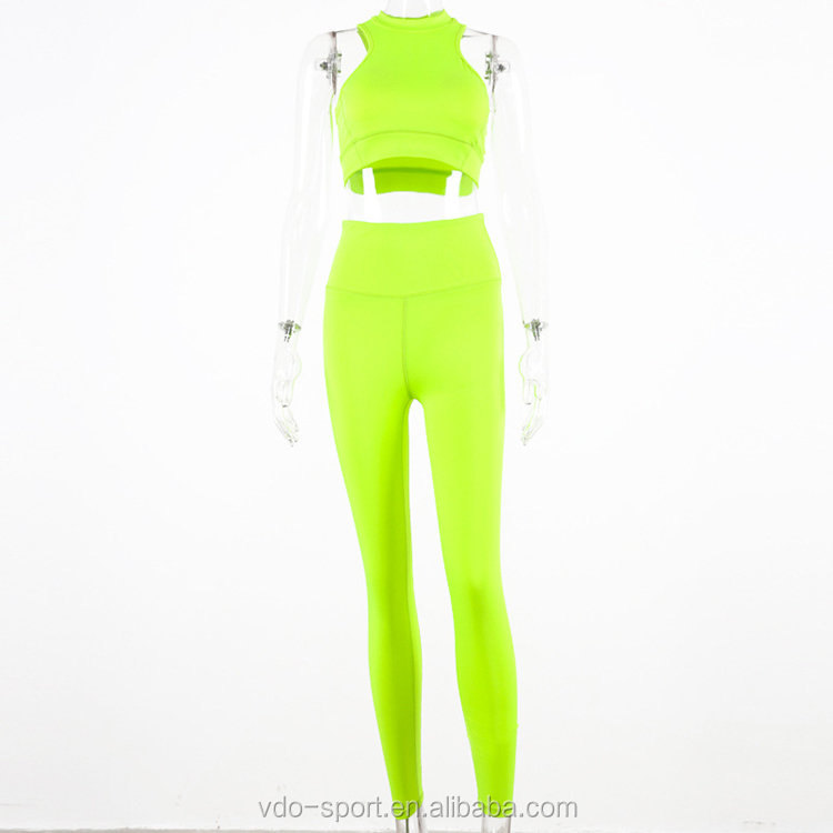Women Blank Custom Tracksuit Set Sports Bra and Leggings Yoga Suit 2 Pieces Yoga Set