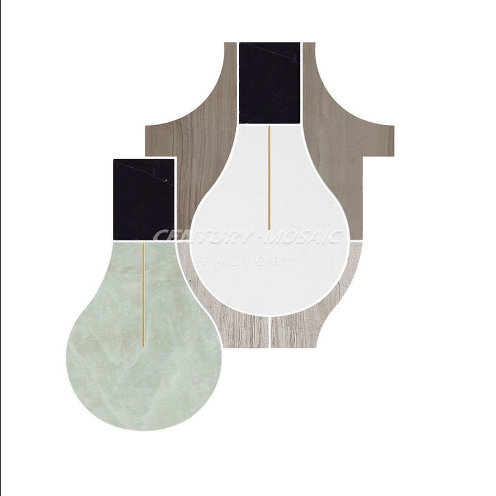 Edison Bulb Carrara Mixed White Thassos and Nero Marquina Brass Inlay Water Jet Mosaic
