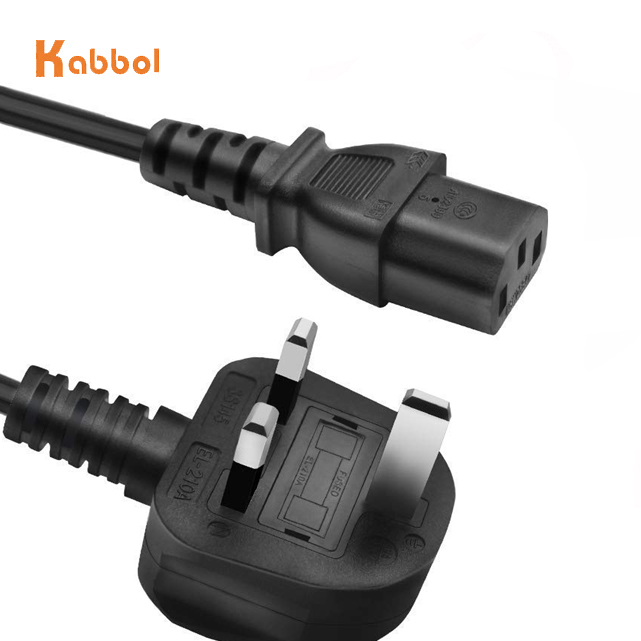 UK to C13 10 foot <strong>power</strong> cord BS1363 standard UK fused 3 pin <strong>plug</strong> to IEC C13 with <strong>H05VV</strong>-<strong>F</strong> 1.0mm black wire 10 feet 10A 250V ASTA