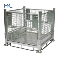Warehouse storage heavy duty bulk stackable collapsible folding metal steel pallet bin