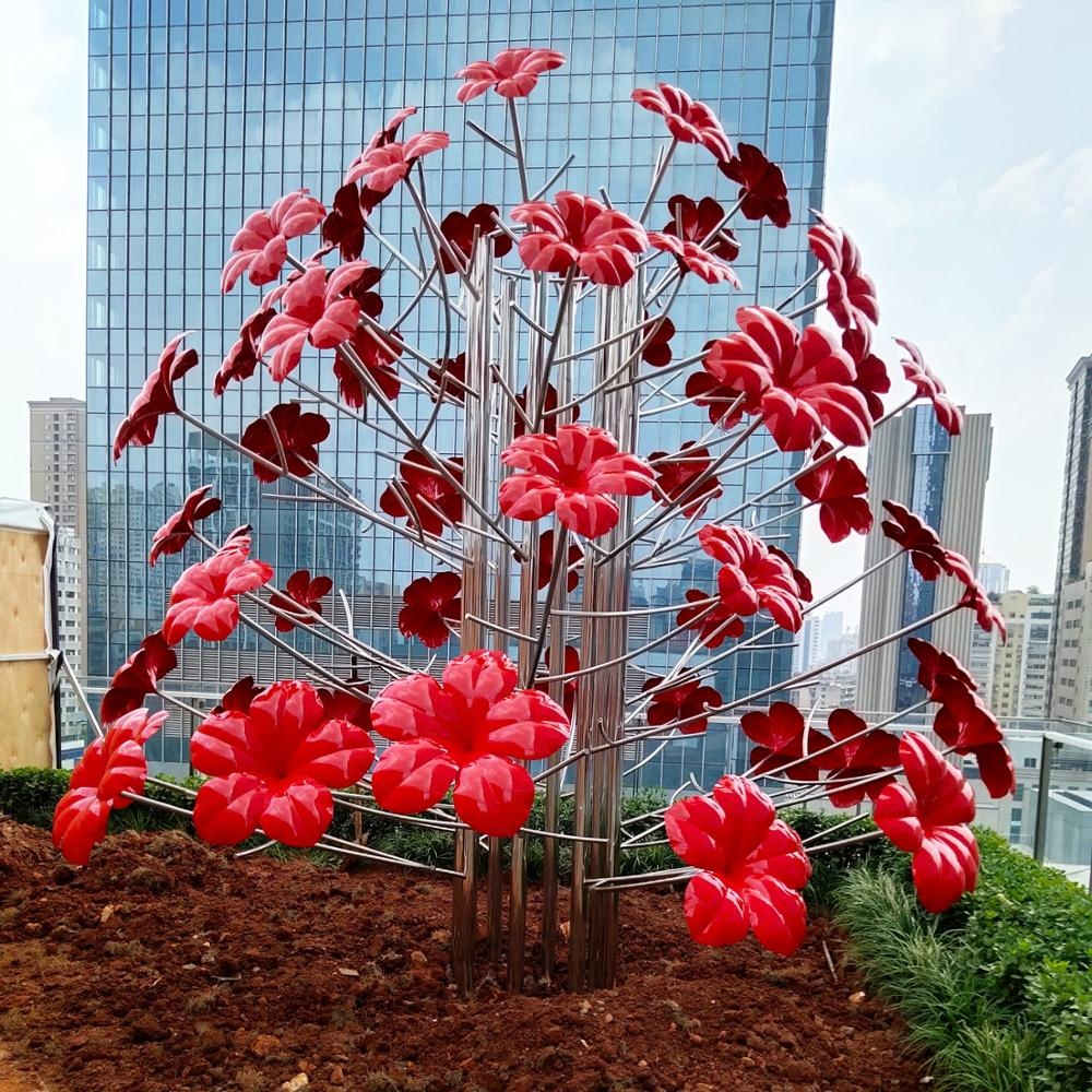 2019 New Designed hotsales public stainless steel flowers  tree sculpture