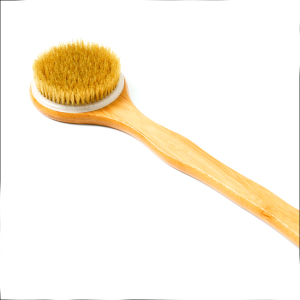 100% natural bamboo long handle baby bath brush with soft fiber bristle