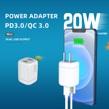 Dual Port 20W USB TYPE C Power Adapter PD QC 3.0 Wall Fast Charger with Foldable Plug for iPhone 12 /11/XR/XS iPad Watch Airpods