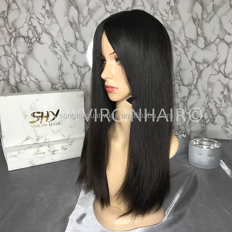 Top Quality Silky Straight 100% Human Hair Silk Top European Kosher Wig