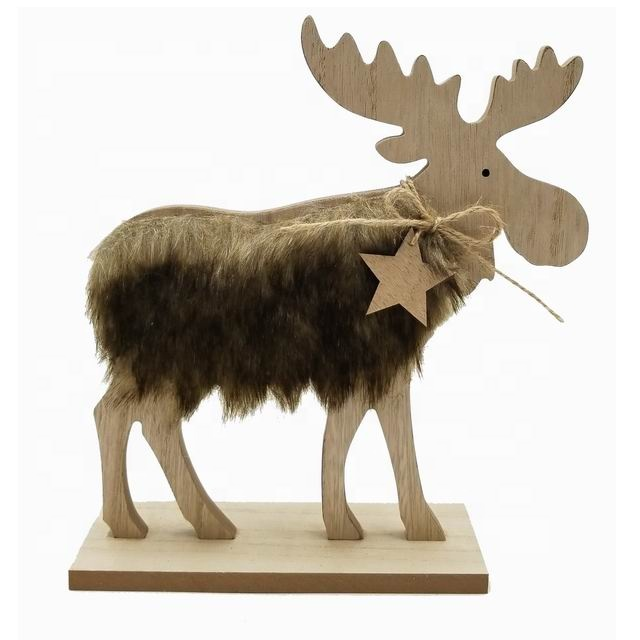 Wholesale MDF wood reindeer <strong>decoration</strong> with fake fur for Christmas