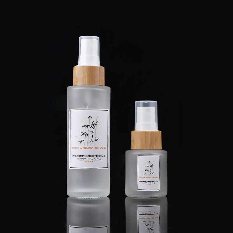 15ml 30ml 50ml 100ml 120ml Cosmetic Glass Alcohol <strong>Bottles</strong> With Bamboo Pump Spray