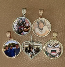 Silver Color Cubic Zircon Custom Made Photo Medallions Necklace picture pendant necklace With 4mm Tennis Chain