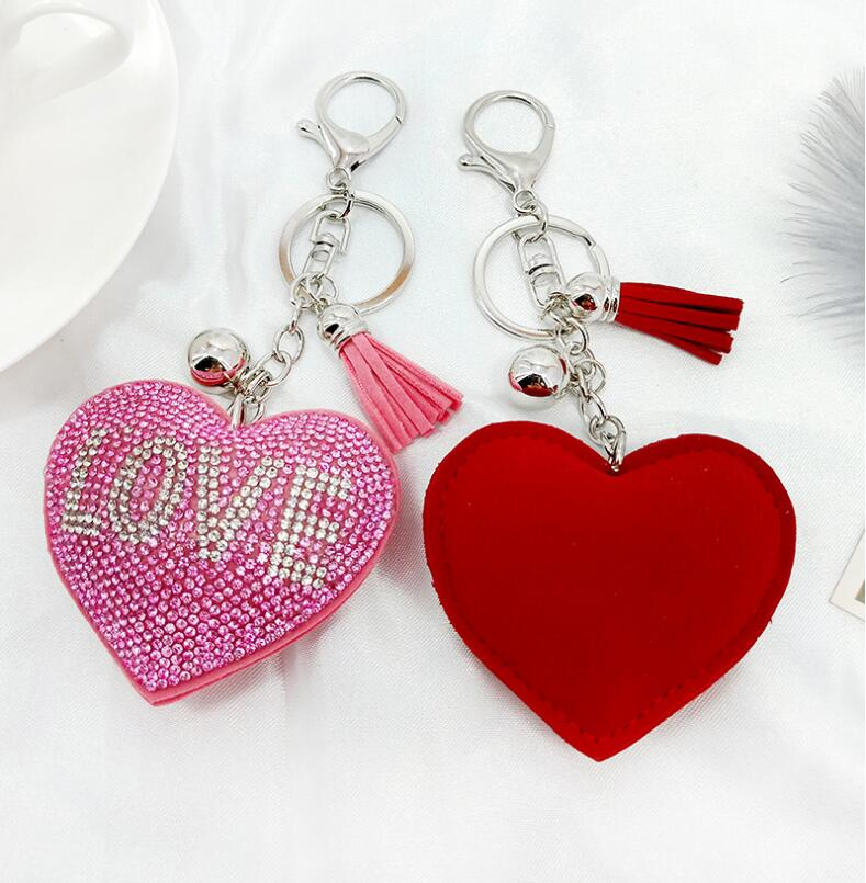 DH003Trade Assurance New Fashion Inlaid Crystal Love Heart Tassel Keychain Personality Rhinestone Love Letter Women Key chain